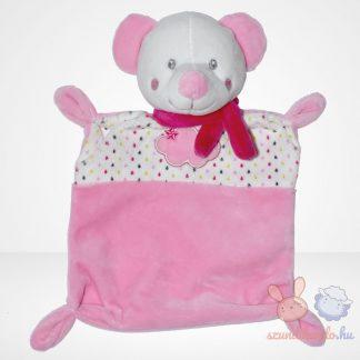 Nicotoy kislány maci rózsaszín szundikendő sállal, felhő mintával