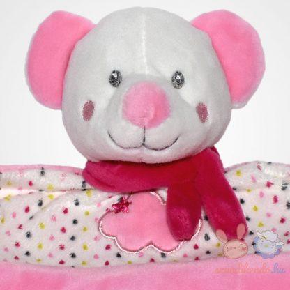 Nicotoy kislány maci rózsaszín szundikendő sállal, felhő mintával, közelről