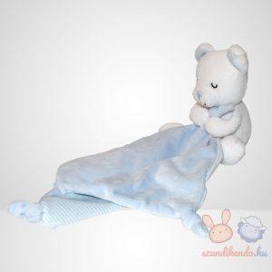 Nicotoy fehér alvó macis, kék-fehér csíkos szundikendő, balról